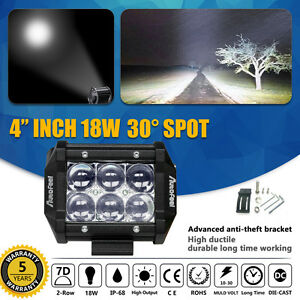4 Inch 18w Cree 7d Lens Led Pods Spot Work Light Bar Off Road Driving Jeep Truck