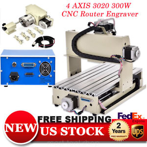 4axis 3020 Cnc Router Engraver Machine 3d Cutter Engraving Drilling Milling 300w