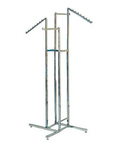4 way Garment Rack 16 Straight 18 Slant Arms Square Tubing Chrome