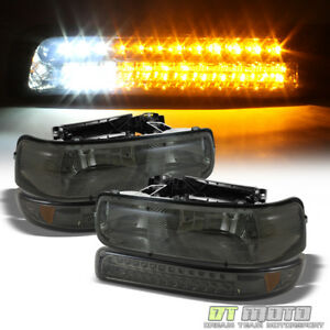 Smoke 99 02 Chevy Silverado 00 06 Suburban Headlights W Led Bumper Signal Lamps