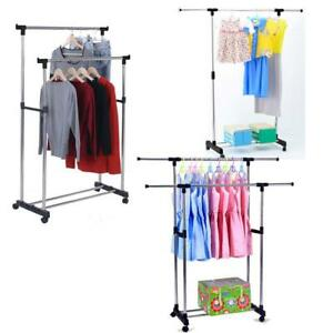 Single dual Pole Garment Rack Adjustable Clothes Drying Hanging Bar Rolling Rail