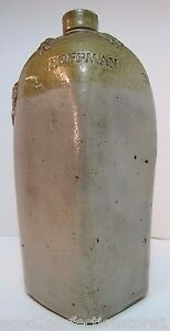 Antique Old Hoffman House Stoneware Square Bottle Jug Folk Art Birds Beer Liquor
