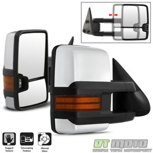 Pair 1999 2006 Silverado Sierra Manual Trailer Tow Towing Mirrors Chrome