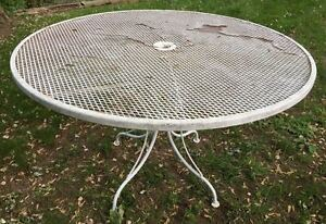Large Vintage Woodard Table Mid Century Modern Wrought Iron Outdoor Garden