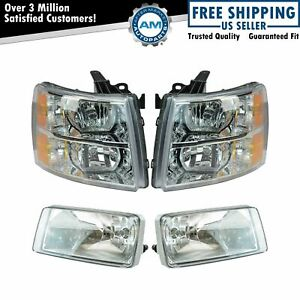 Headlight Fog Driving Light Lamp Lh Rh Kit Set Of 4 For Chevy Silverado Truck