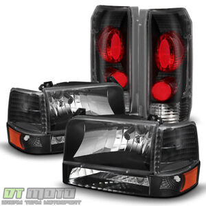 Black 1992 1996 Ford F150 F250 F350 Bronco Headlights bumper Signal tail Lights