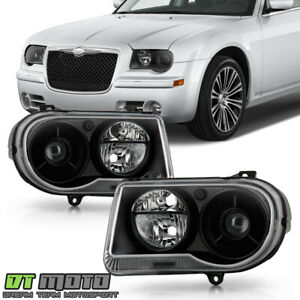 Black 2005 2006 2007 2008 2009 2010 Chrysler 300c Projector Headlights Headlamps