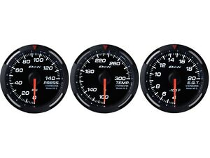 Defi White Racer 52mm 3 Gauges Set fuel Pressure oil Temperature egt