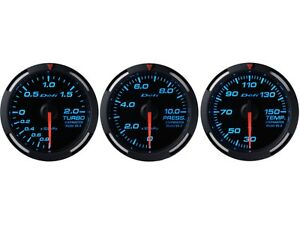 Defi Blue Racer 60mm 3 Gauges Set turbo Boost fuel Pressure oil Temperature