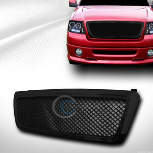 Fit 04 08 Ford F150 Glossy Black Mesh Front Hood Bumper Grill Grille Guard Abs