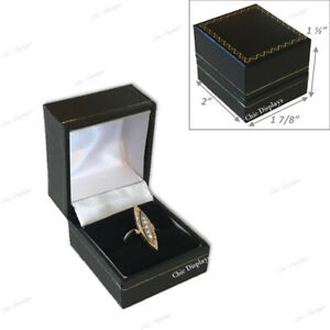 48pc Ring Jewelry Boxes Wholesale Jewelry Ring Boxes Faux Leather Black Gift Box