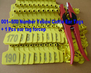 001 500 Number Yellow Cattle Ear Tags Ear Tag Forcep