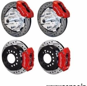 Wilwood Disc Brake Kit 1960 72 Mopar Cdp A Body Red Calipers 11 Drilled Rotors