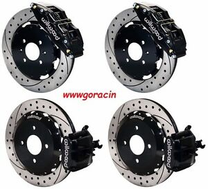 Wilwood Disc Brake Kit 1990 2001 Civic integra 12 Drilled Rotors black Calipers
