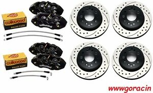 Wilwood d8 6 D8 4 Black Calipers drilled Rotors 1965 82 Corvette 6 4 Piston