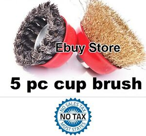 5pc 3 Arbor Fine Crimp 4 Knot Wire 5 Cup Brush Twist For Angle Grinder