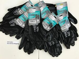3 6 12 Pairs Nitrile Coated Gloves For Construction Grip Work Garden Large