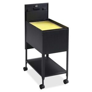 Black Metal Letter File Cabinet Rolling Storage Mobile Cart Organizer Filing