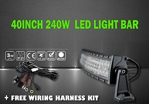 Led Light Bar Kit Curved 40inch 240w Combo Led Light Bar Off Road Suv Boat 4wd