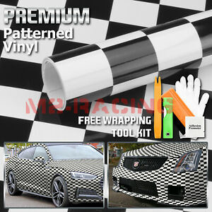 black White Checker Racing F1 Auto Car Vinyl Wrap Sticker Decal Sheet Film