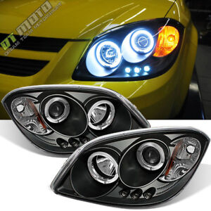 Black 2005 2010 Chevy Cobalt Pontiac G5 Led Halo Projector Headlights Left right