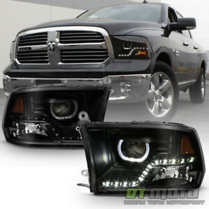 Black Smoke 2009 2018 Dodge Ram 1500 2500 3500 Smd Led Halo Projector Headlights