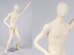 Male Full Body Poseable Mannequin White Jersey Covered Body Form m01softx jf