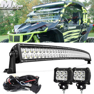 Curved 50 Led Light Bar 2x Free 4 Pod Can am Commander Maverick 1000r 800r Utv