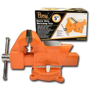 Pony 5 Bench Vise 2 5 8 Throat Heavy Duty Swivel Base Workshop Tools New 29050