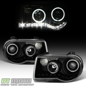 Black 2005 2010 Chrysler 300c Led Halo Projector Headlights Headlamps Left Right