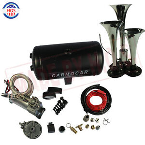 Loud Triple Trumpet Air Horn Kit With Light duty Air Compressor For Car Truck Rv