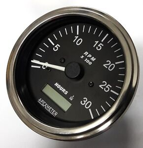 Tachometer Hourmeter 0 3000 Rpm Alternator Diesel Engine 85mm 12v