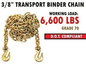 3 8 X 14 Binder Transport Chain Cargo Flatbed Grade 70 W Clevis Grab Hooks
