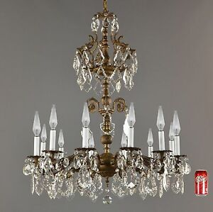Huge 3 Spanish Brass Crystal Chandelier C1940 Vintage Antique French Light