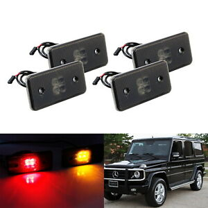 Smoked Lens Front Rear Led Side Marker Lights For 02 14 Mercedes W463 G class