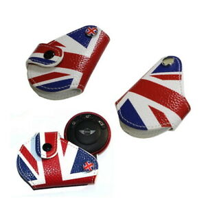 Red Union Jack Uk Flag Style Real Leather Key Fob Holder For 2008 Mini Cooper