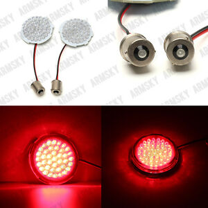 2 1156 Red Led Turn Signal Inserts Bullet Style For Harley Touring Sportster 6
