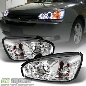 2004 2007 Chevy Malibu Drl Halo Projector Headlights W Led Daytime Running Light