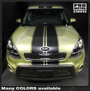 For Kia Soul 2008 2018 Over Top Center Sport Stripes Decals choose Color