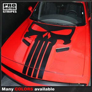 Dodge Challenger 2008 2019 Punisher Skull Hood Stripe Decal Choose Color