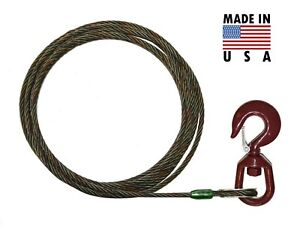 3 8 X 50 Swivel Eye Hoist Hook Winch Line Tow Truck Wrecker Cable Fiber Core