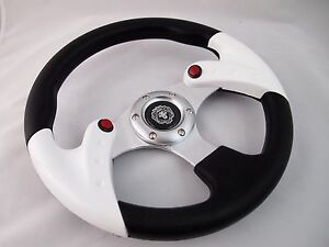 1984 Club Car Ds White 12 5 Steering Wheel Golf Cart With Chrome Adapter