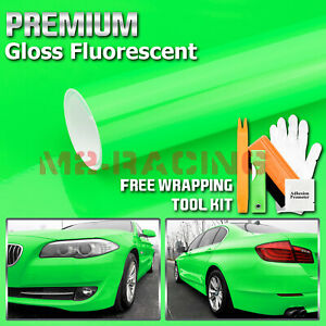 gloss Fluorescent Neon Green Car Vinyl Wrap Sticker Decal Bubble Free Film Diy