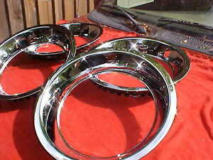 15x7 Chevy Bowtie Beauty Bands Rings Chrome Stainless Corvette Style Rally