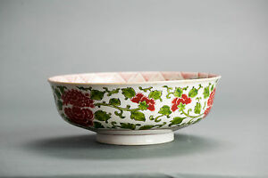 Top Quality Good Japanese 20th C Tetsuka Green Red Bowl Japanese Porcelain