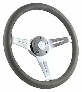 Chevy Gm 69 94 15 Classic Grey Leather Steering Wheel Set W Chrome Finish