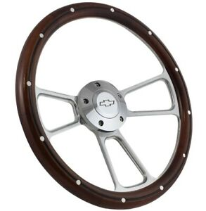 Chevy Pick Up Truck Real Wood Chrome Steering Wheel Kit 1948 59 W gm Column
