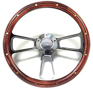 Chevy Pick Up Truck Real Wood Chrome Steering Wheel Adapter 1970 73