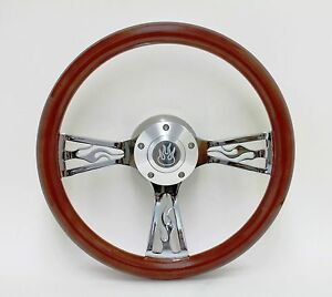 14 Mahogany Wood Flame Chrome Steering Wheel W Billet Adapter 69 94 Chevy Gm