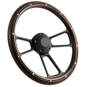 14 Mahogany Steering Wheel Complete Billet Kit For 1958 1960 Ford Pick Ups
